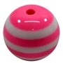 20mm Hot Pink Stripe Resin Bubblegum Beads