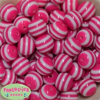 20mm Hot Pink Stripe Beads