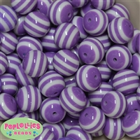 20mm Lavender Stripe Resin Bubblegum Beads