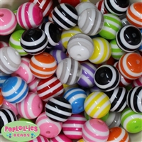 20mm Mixed Stripe Resin Bubblegum Beads Bulk 100pc