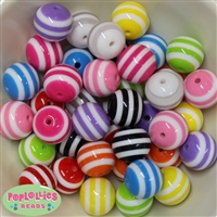 20mm Mixed Stripe Resin Bubblegum Beads