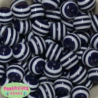20mm Navy Blue Stripe Resin Bubblegum Beads