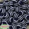 20mm Navy Blue Stripe Resin Bubblegum Beads Bulk