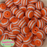 20mm Orange Stripe Beads
