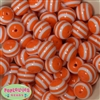 20mm Orange Stripe Resin Bubblegum Beads Bulk