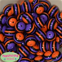 20mm Purple Black and Orange Stripe Beads