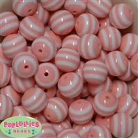 20mm Peach Stripe Resin Bubblegum Beads