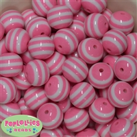 20mm Pink Stripe Beads