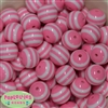 20mm Pink Stripe Resin Bubblegum Beads Bulk
