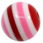 20mm Valentine Stripe Resin Bubblegum Beads