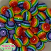 20mm Rainbow Stripe Resin Bubblegum Beads