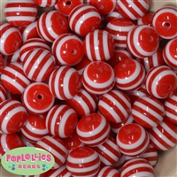 20mm Red Stripe Beads