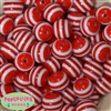 20mm Red Stripe Resin Bubblegum Beads Bulk