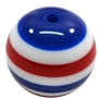 20mm Red White & Blue Stripe Resin Bubblegum Beads