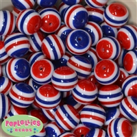 Bulk 20mm Red White and Blue Stripe Beads