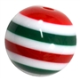 20mm Red and Green Stripe Resin Bubblegum Beads