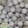 20mm White Stripe Beads