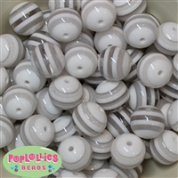 20mm White Stripe Resin Bubblegum Beads