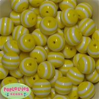 20mm Yellow Stripe  Resin Bubblegum Beads