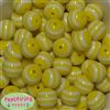 20mm Yellow Stripe  Resin Bubblegum Beads Bulk