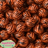 20mm Orange Zebra Stripe Bubblegum Bead