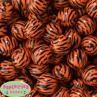 20mm  Orange Zebra Stripe Beads