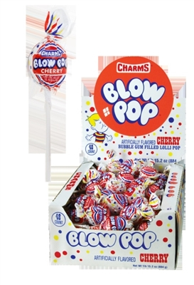 Charms Blow Pop Cherry- 48/box