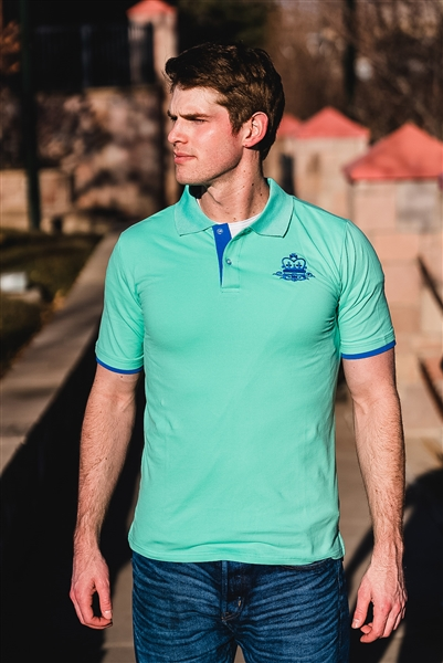 Slim Fit Polo, Embroidered Logo - Turquoise