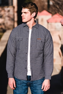 Insulated Casual Flannel Shirt Jacket - Navy/White