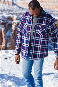 Insulated Dillon Peak Flannel Shirt Jacket - Navy/Red