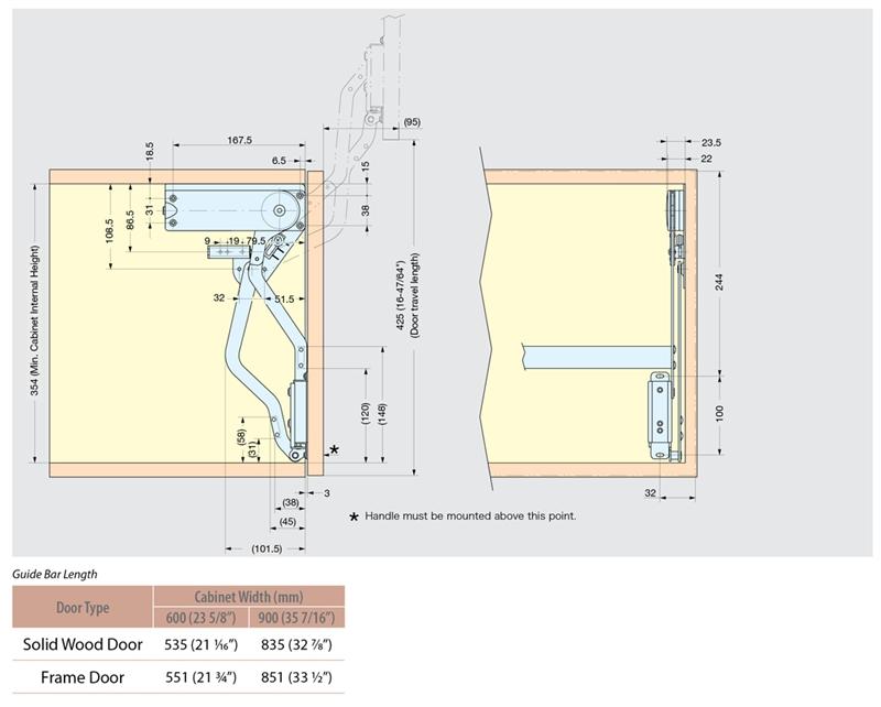 Cabinet Door Lift Up Mechanism : Vertical swing lift up mechanism for door w guide bar