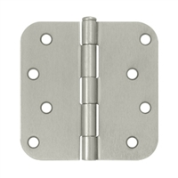 "4"" x 4"" Full Mortise Residential Weight Plain Bearing Butt Hinge w/ 5/8"" RC - Brushed Chrome"
