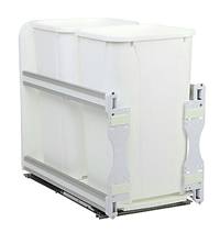 "2 x 27QT Pull Out Waste Container Undermount Soft Close (11 1316 ""W x 22 7/16""D x 19 1/2""H)"