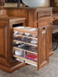 Vanity Organizer Under Mount Soft Close Wood Pull Out w/ 6 Bins - Maple