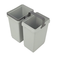 Waste Bin with Handles - Silver Grey