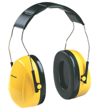 Optime 98 Earmuffs Over-The-Head Dual Cup Hearing Protector - Black/Yellow