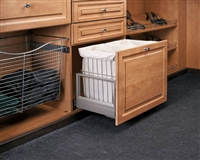 "Pull-Out Cloth Soft Close Hamper w/ x2 Silver Tray (24"" W x 13 15/16"" D x 18 7/8"" H) - Silver/Ivory"