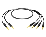 "2-Channel Insert Cable | Made from Mogami 2931 & Neutrik Gold | 2 x 1/4"" TRS to 4 x 1/4"" TS"