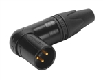 Neutrik NC3MRX-B Gold 90º Right-Angle XLR-Male Connector