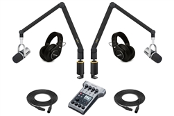 Yellowtec 2-Person Complete Mobile Podcasting Bundle with Shure MV7-S Microphones | Medium (Black)