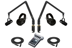 Yellowtec 2-Person Complete Mobile Podcasting Bundle with Shure MV7-K Microphones | Medium (Black)
