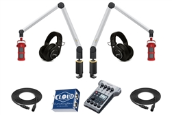 Yellowtec 2-Person Complete Mobile Podcasting Bundle with Sontronics Podcast Pro Microphones | Medium (Silver)