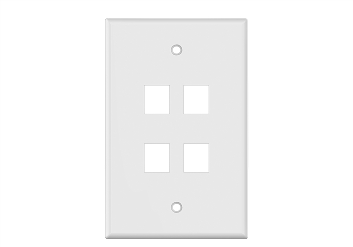 White Keystone MIDSIZE 4 Hole Wall Plate