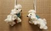 White Felted Wool Poodle Ornaments