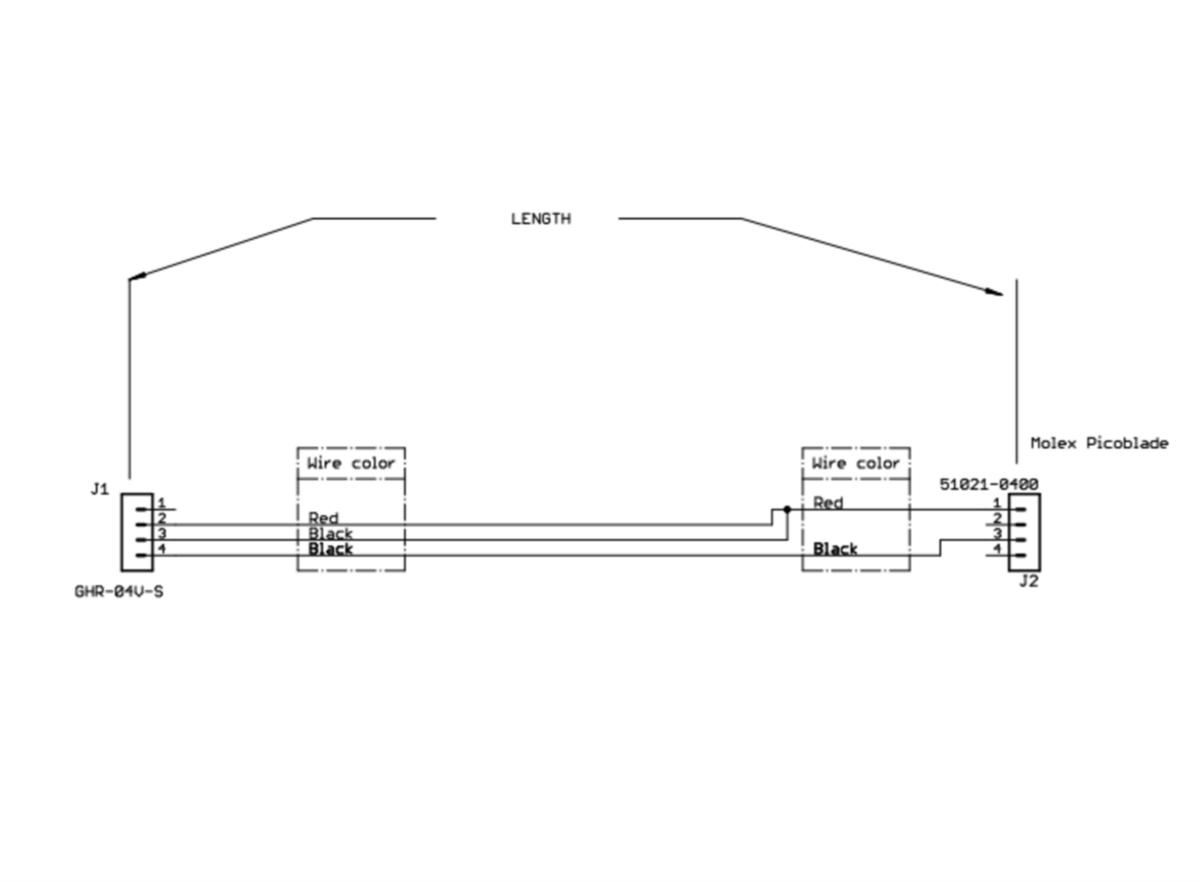 Mro 4 Pins Jst Gh To Molex Picoblade 51021 Mrc0227 Pin Wiring Diagram
