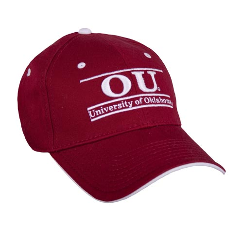 Oklahoma Stretch Fit College Bar Hats by The Game 7170eee288d