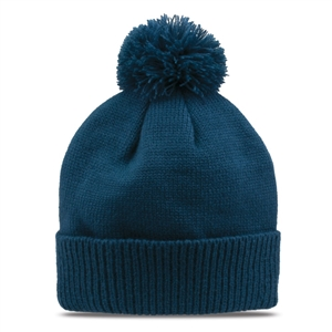 GB472 - Acrylic Ribbed Roll-Up Beanie/Pom