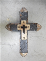 16 inches long. Wood cross with grind marks and painted black aged to look rustic. Smaller wood  cross on top with .  a mini Mexican tile cross on top and aged tin tips