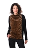 Alembika top with faux jaguar fur front