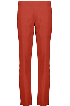 Foil full length slim leg classic trapeze pant in mix clay stretch cotton mix fabric with side pockets